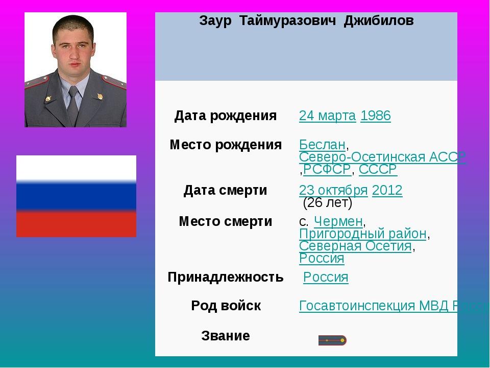 Заур Таймуразович Джибилов  Дата рождения24марта1986 МесторожденияБесл...