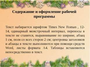 Содержание и оформление рабочей программы Текст набирается шрифтом Times New