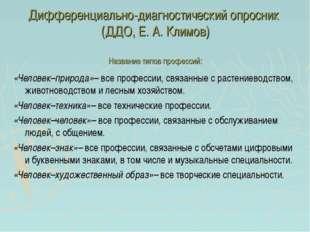Дифференциально-диагностический опросник (ДДО, Е. А. Климов) Название типов п