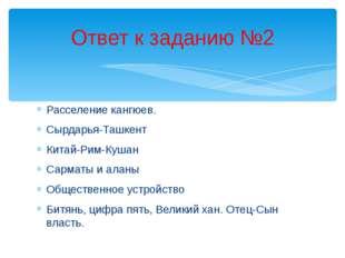 Расселение кангюев. Сырдарья-Ташкент Китай-Рим-Кушан Сарматы и аланы Обществе