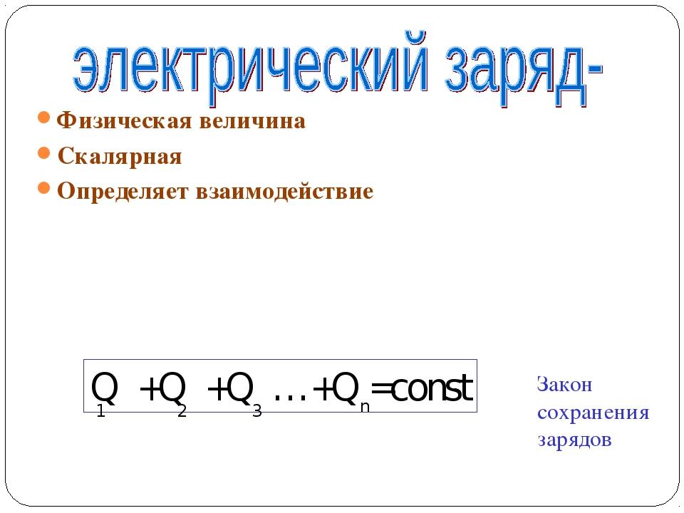 Физическая величина Скалярная Определяет взаимодействие Q +Q +Q …+Q =const 1...