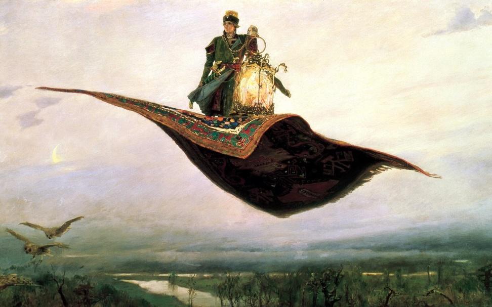 Васнецов Виктор, Ковёр-самолёт, сказка, картина, полёт, фольклор обои, фото, картинки
