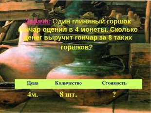 Задача: Один глиняный горшок гончар оценил в 4 монеты. Сколько денег выручит