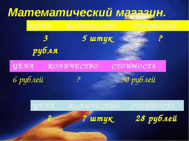 Математический магазин. ЦЕНАКОЛИЧЕСТВОСТОИМОСТЬ 6 рублей?30 рублей ЦЕНАК...
