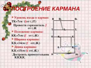 ПОСТРОЕНИЕ КАРМАНА Уровень входа в карман: ТК=7см (↓от (.)Т) Провести горизон