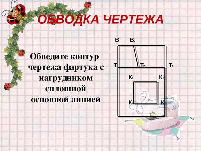 ОБВОДКА ЧЕРТЕЖА Обведите контур чертежа фартука с нагрудником сплошной основн...