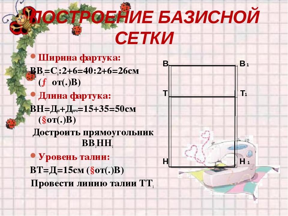 ПОСТРОЕНИЕ БАЗИСНОЙ СЕТКИ Ширина фартука: ВВ1=Сб:2+6=40:2+6=26см (→от(.)В) Дл...