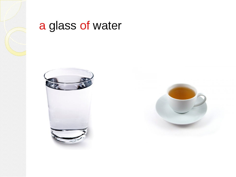 a glass of water a cup of tea