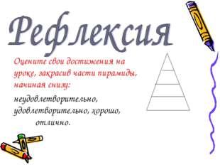 Оцените свои достижения на уроке, закрасив части пирамиды, начиная снизу: неу