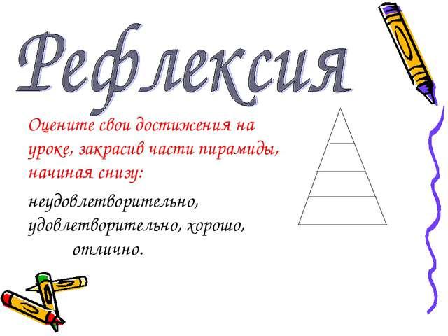 Оцените свои достижения на уроке, закрасив части пирамиды, начиная снизу: неу...