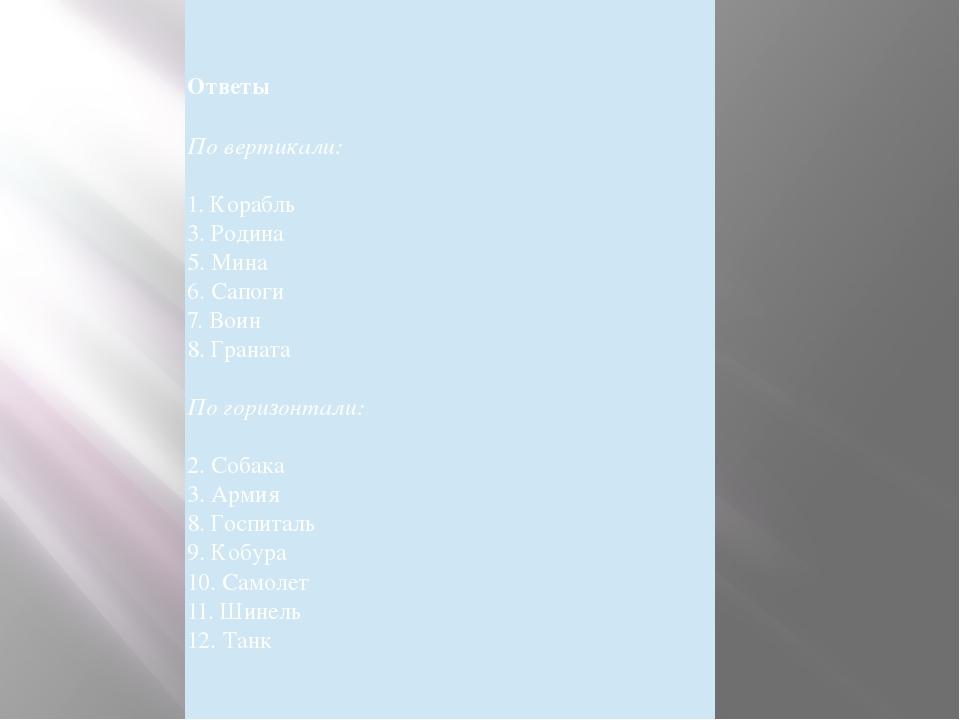 КРОССВОРД «ВОЕННЫЙ» Ответы По вертикали: 1. Корабль 3. Родина 5. Мина 6. Сап...