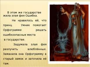 В этом же государстве жила злая фея Ошибка. Не нравилось ей, что принц Умник