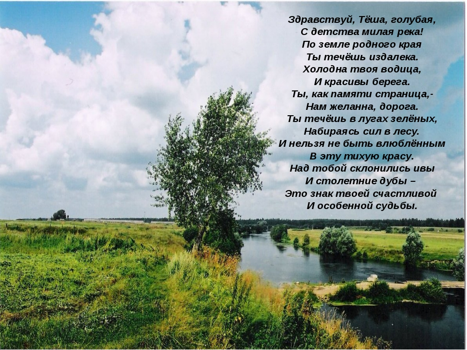 Здравствуй, Тёша, голубая, С детства милая река! По земле родного края Ты теч...