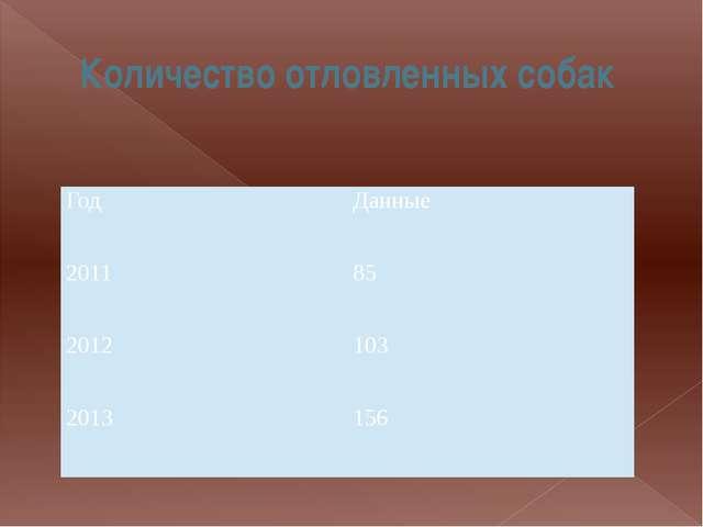Количество отловленных собак Год Данные 2011 85 2012 103 2013 156