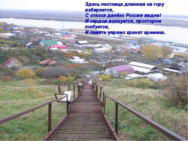 Здесь лестница длинная на гору взбирается, С откоса далёко Россия видна! И се...
