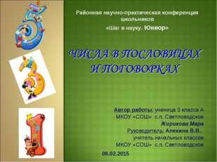 Районная научно-практическая конференция школьников «Шаг в науку. Юниор» Авто