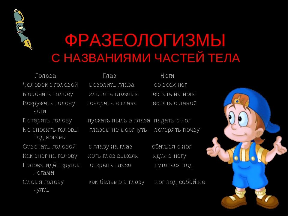 ФРАЗЕОЛОГИЗМЫ С НАЗВАНИЯМИ ЧАСТЕЙ ТЕЛА Голова Глаз Ноги Человек с головой моз...