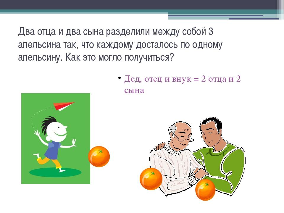 Два отца и два сына разделили между собой 3 апельсина так, что каждому достал...