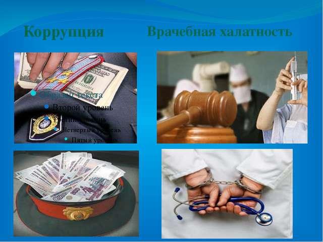 Коррупция Врачебная халатность