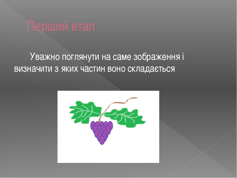 Перший етап Уважно поглянути на саме зображення i визначити з яких частин вон...