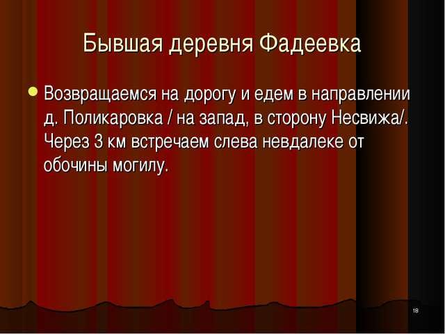 * Бывшая деревня Фадеевка Возвращаемся на дорогу и едем в направлении д. Поли...