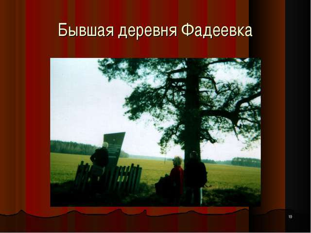 * Бывшая деревня Фадеевка