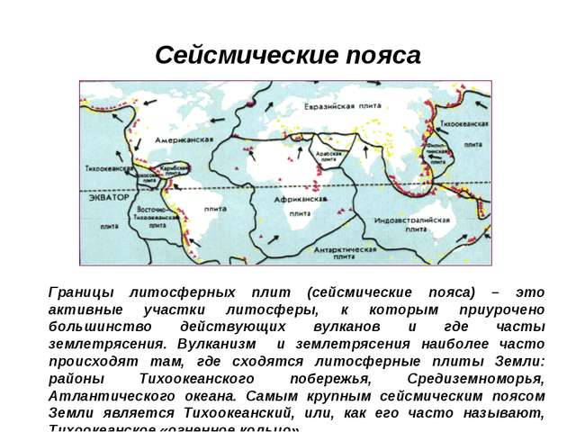 Сейсмические пояса Границы литосферных плит (сейсмические пояса) – это активн...
