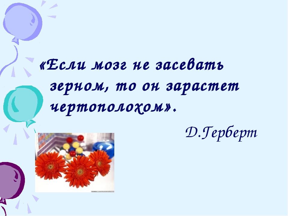 «Если мозг не засевать зерном, то он зарастет чертополохом». Д.Герберт