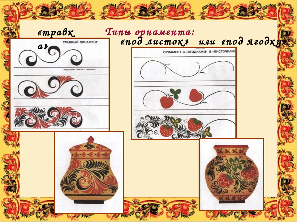 Типы орнамента: «травка» «под листок» или «под ягодку» Здесь выделяют три тип...