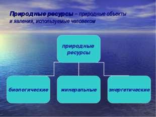 Природные ресурсы – природные объекты и явления, используемые человеком