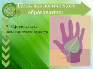 Цель экологического образования: Сформировать экологическуюкультуру.