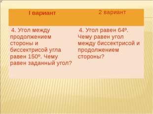 2 вариант I вариант  4. Угол между продолжением стороны и биссектрисой угла