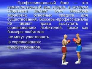Профессиональный бокс — это самостоятельный вид спорта, в котором спортсмен