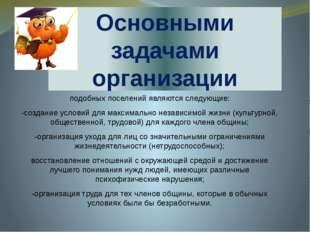 Основными задачами организации подобных поселений являются следующие: -создан