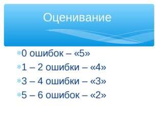 0 ошибок – «5» 1 – 2 ошибки – «4» 3 – 4 ошибки – «3» 5 – 6 ошибок – «2» Оцени