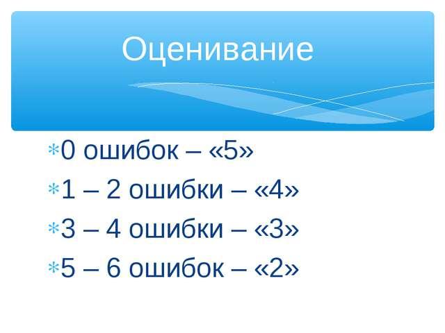 0 ошибок – «5» 1 – 2 ошибки – «4» 3 – 4 ошибки – «3» 5 – 6 ошибок – «2» Оцени...