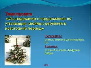 Тема проекта «Исследование и предложения по утилизации хвойных деревьев в нов