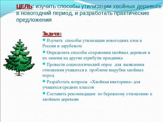 ЦЕЛЬ: изучить способы утилизации хвойных деревьев в новогодний период, и раз...