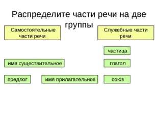 Распределите части речи на две группы глагол предлог союз имя прилагательное