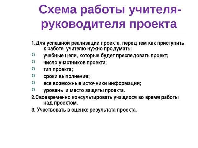 Схема работы учителя-руководителя проекта 1.Для успешной реализации проекта,...