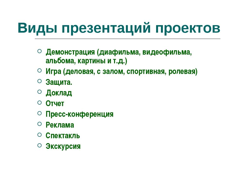 Виды презентаций проектов Демонстрация (диафильма, видеофильма, альбома, кар...