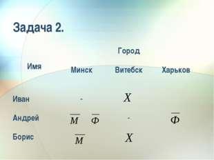 Задача 2. ИмяГород МинскВитебскХарьков Иван- Андрей- Борис