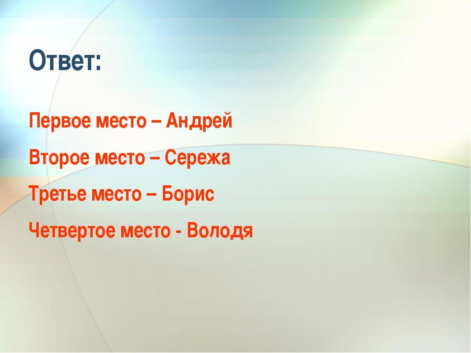 Ответ: Первое место – Андрей Второе место – Сережа Третье место – Борис Четве...