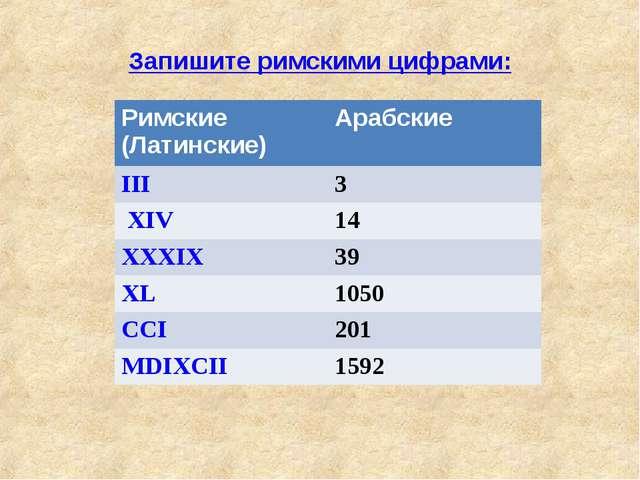 Запишите римскими цифрами: Римские (Латинские)Арабские III3 XIV 14 XXXIX...
