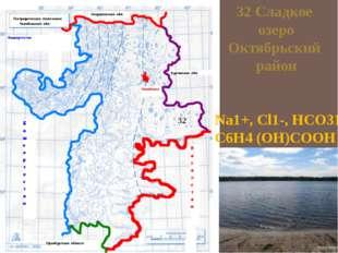32 Сладкое озеро Октябрьский район Na1+, Cl1-, HCO31-, С6Н4 (ОН)СООН 32
