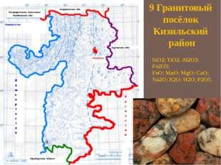 9 Гранитовый посёлок Кизильский район SiO2; TiO2; Al2О3; Fe2О3; FeO; MnO; MgO