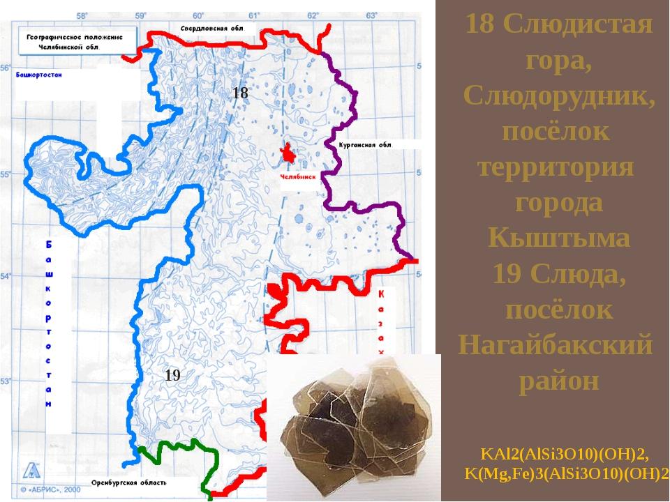 18 Слюдистая гора, Слюдорудник, посёлок территория города Кыштыма 19 Слюда, п...