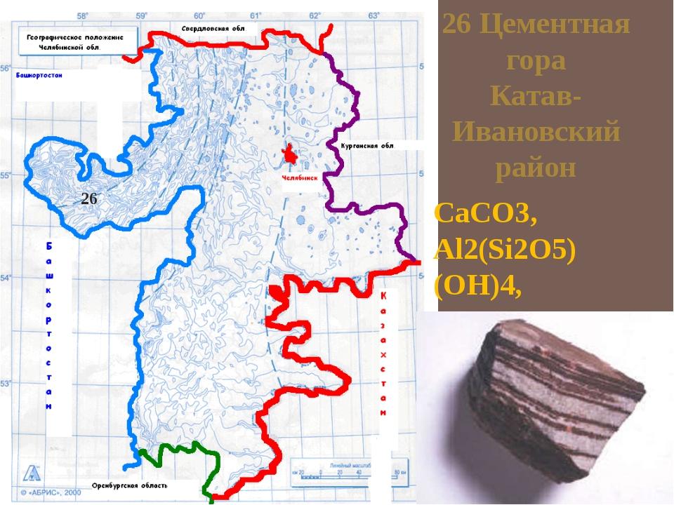 26 Цементная гора Катав- Ивановский район CaCO3, Al2(Si2O5) (OH)4, Al2O3·2Si...