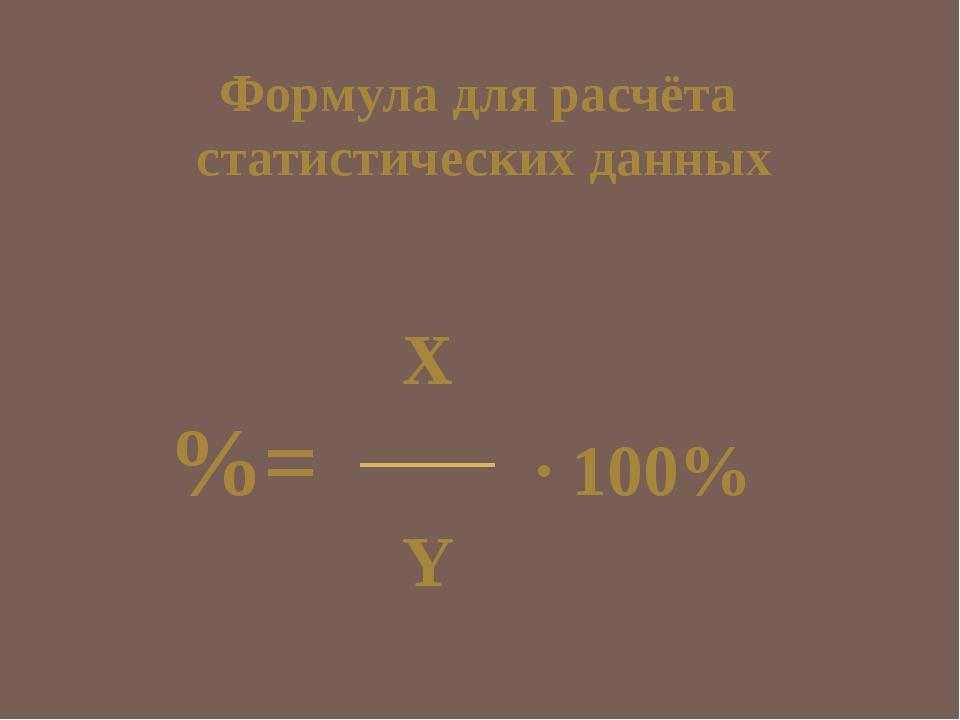 X %= · 100% Y Формула для расчёта статистических данных
