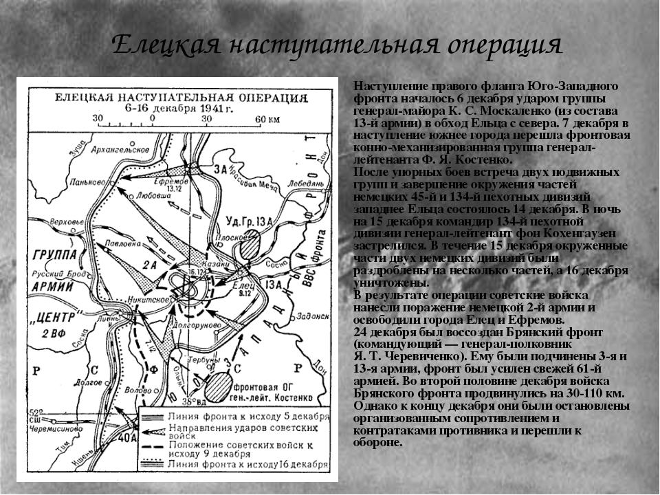 Наступление правого фланга Юго-Западного фронта началось 6 декабря ударом гру...